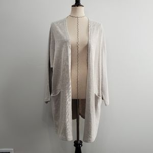Donni Gray and White Loungewear Cardigan